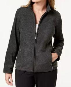 Karen Scott Charcoal Zeroproof Sport Fleece Jacket